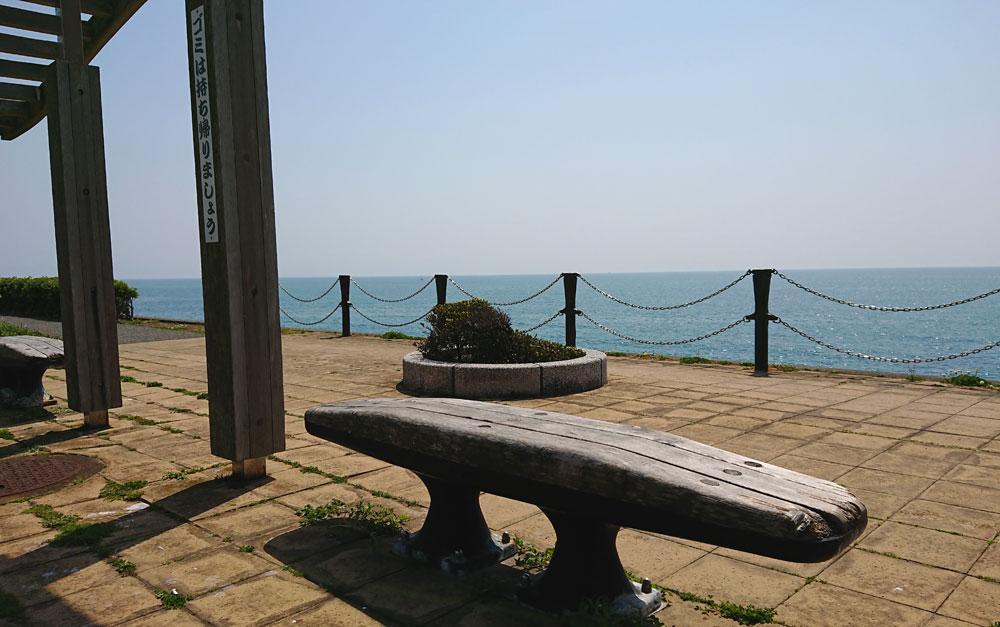 広野海岸公園の海が見えるベンチ